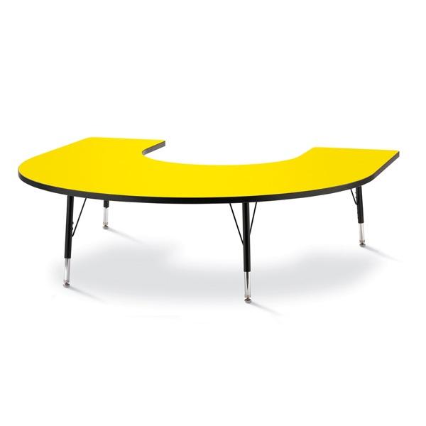 "Berries® Horseshoe Activity Table - 66"" X 60"", T-Height - Yellow/Black/Black"