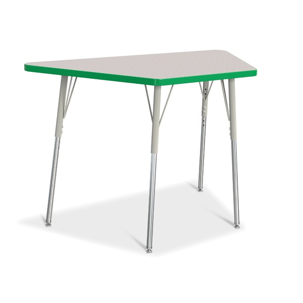 """Berries®Trapezoid Activity Tables - 24"""" X 48"""", A-Height - Gray/Green/Gray"""
