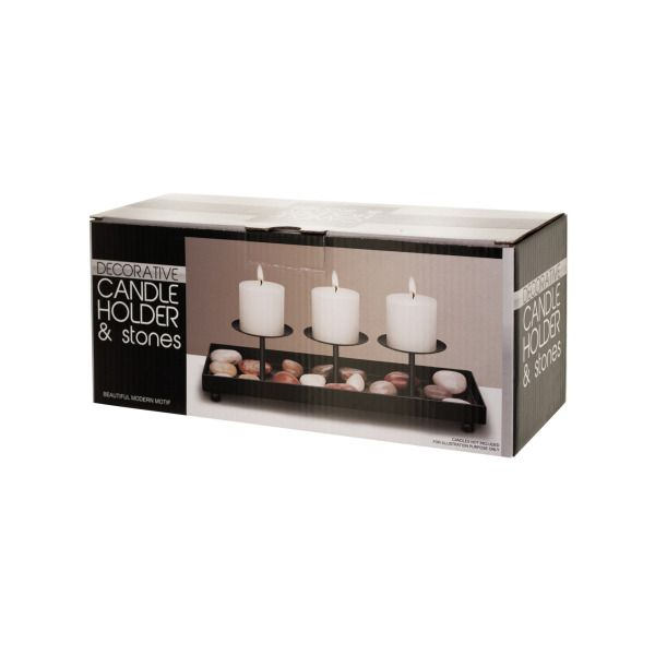 Decorative Metal Candle Holder & Stones Set
