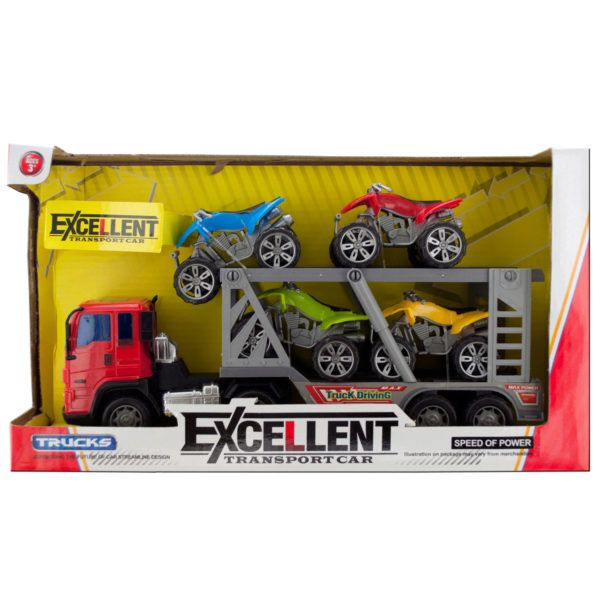 Friction Powered Double Trailer Truck With Atvs Set, Pack Of 2