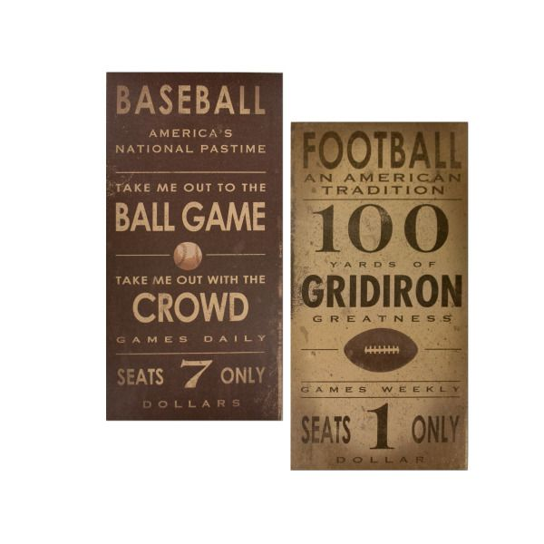 Vintage Sports Games Canvas Wrapped Wall Art, Pack Of 2