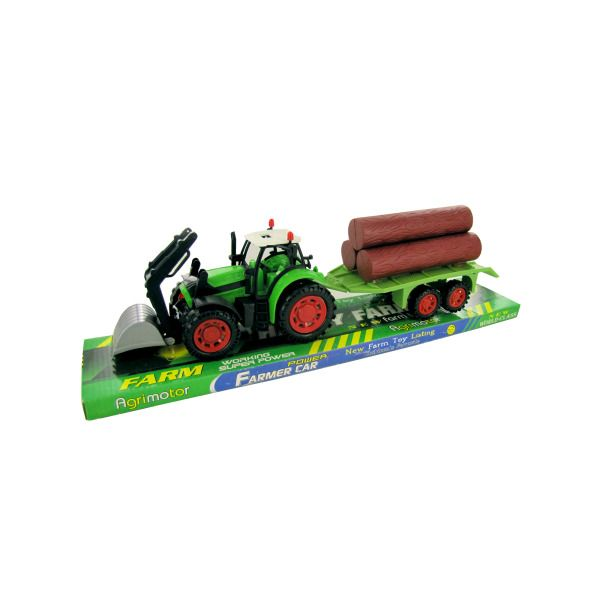 Friction Powered Farm Tractor Truck & Trailer Set