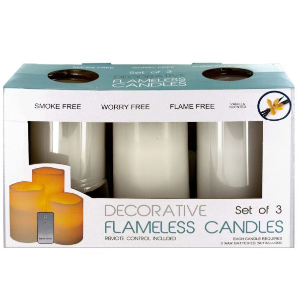 Flameless Vanilla Candles With Remote Control, Pack Of 2