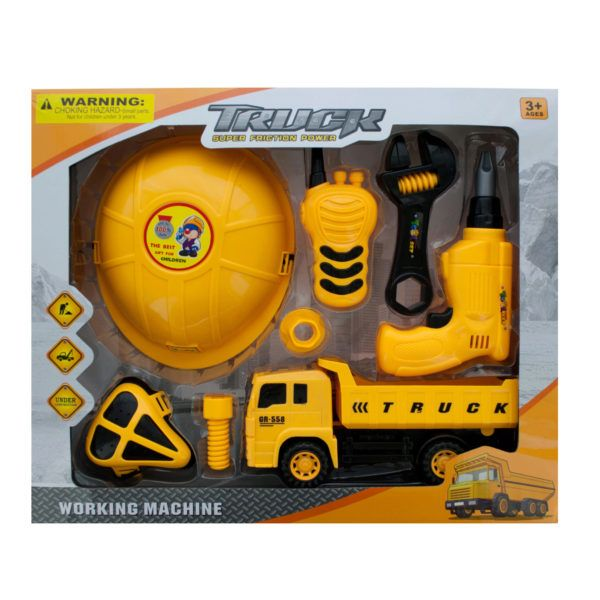 Construction Site Play Set With Friction Truck, Pack Of 2