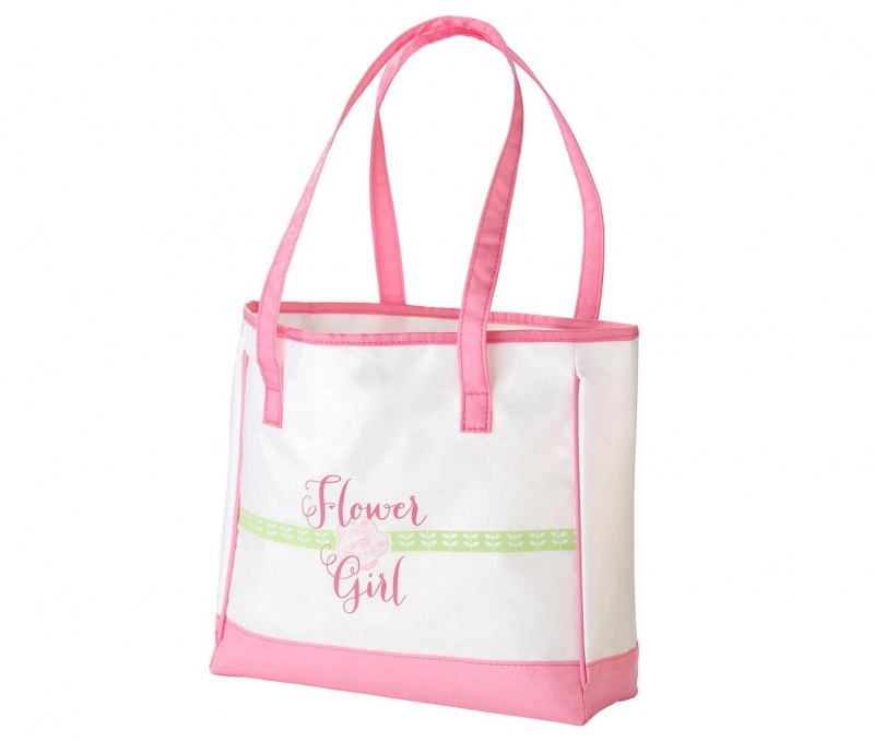 Pink Flower Girl Tote Bag