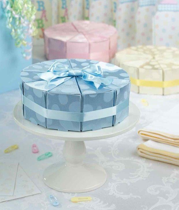 10 Blue Cake Slice Boxes