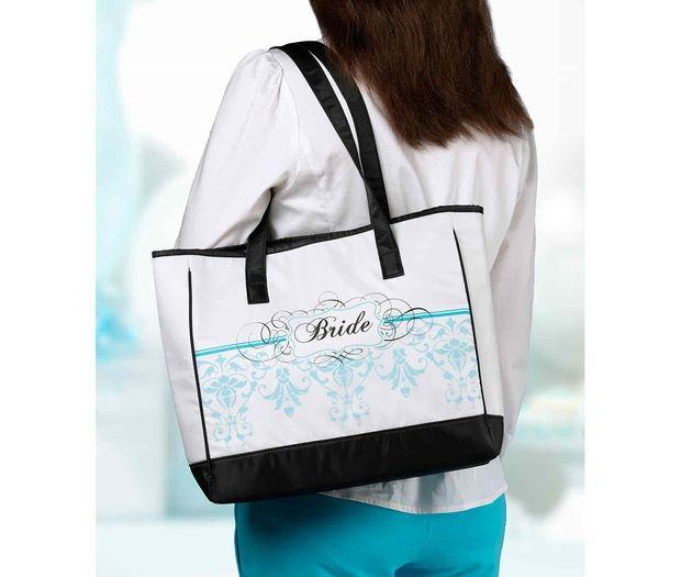 Aqua Bride Tote Bag
