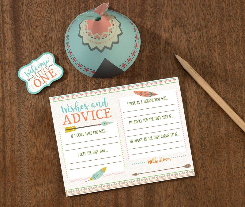 Boho Baby Shower Wishes Card
