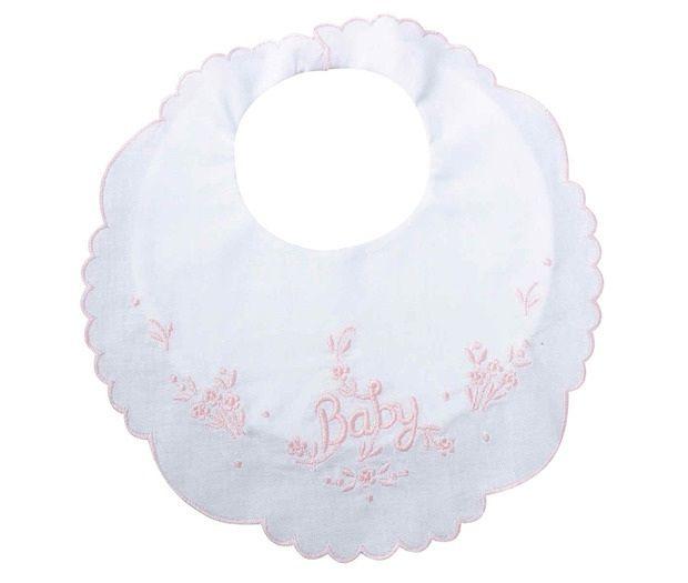 White Cotton Baby Bib Pink Trim