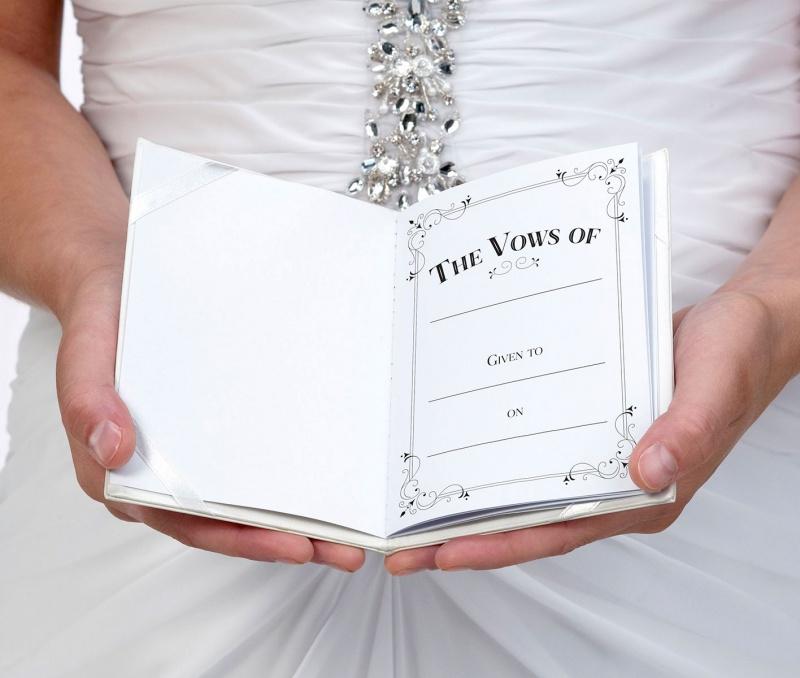 Set Of 2 White & Silver Satin Vows Books