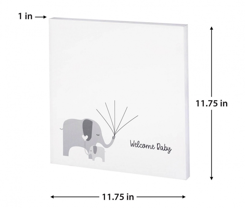 Baby Elephant Canvas Baby Shower Guest Book Alternative With 2 Ink Pads