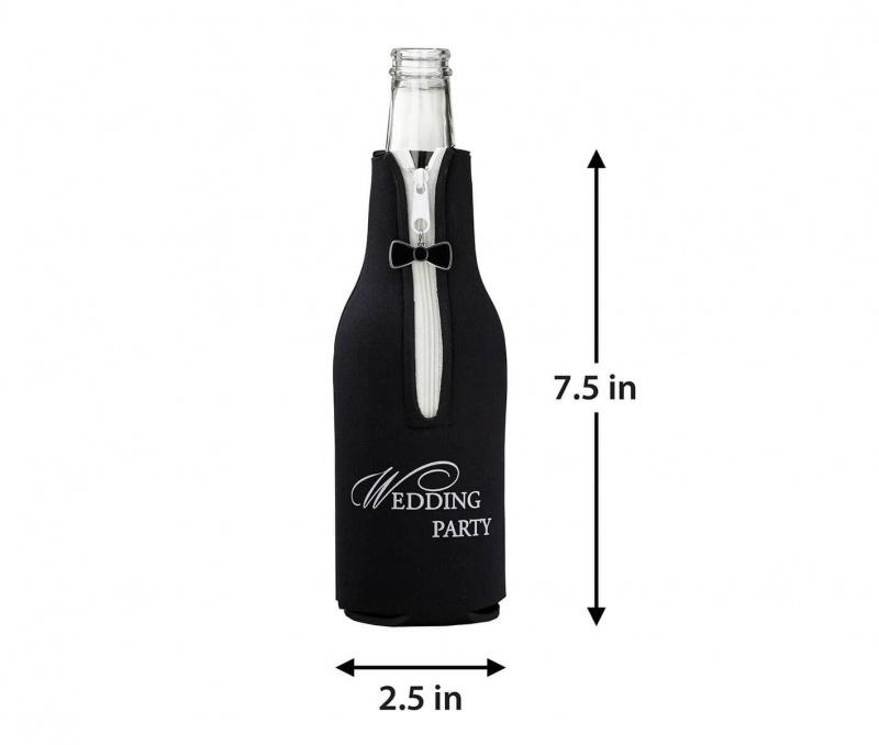 Black Wedding Party Bottle Cozy