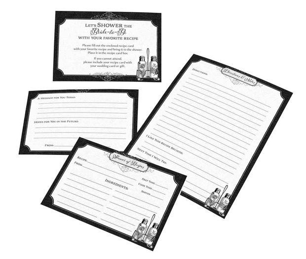 24 Black & White Bridal Shower Recipe Card
