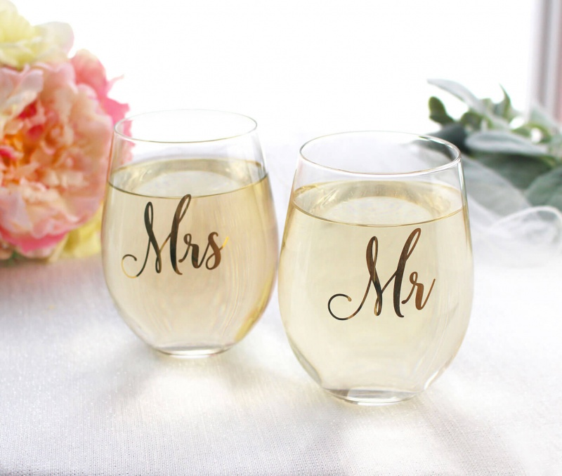 Gold Mr. Stemless Wine Glass