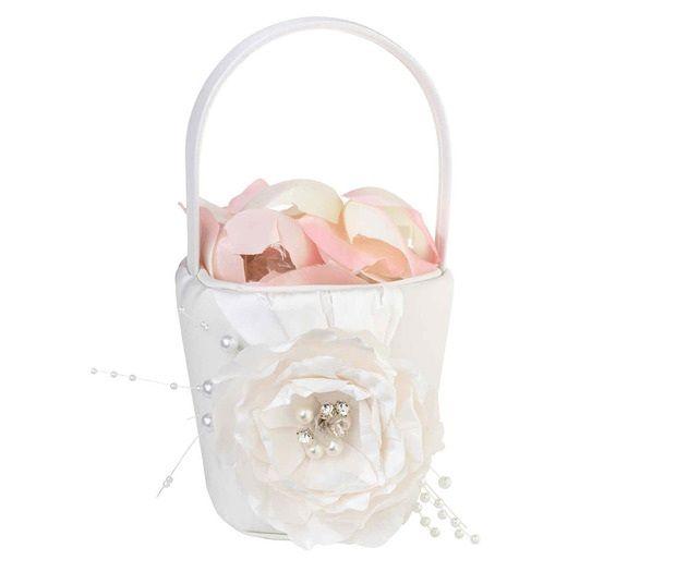 Vintage White Rose Flower Girl Basket