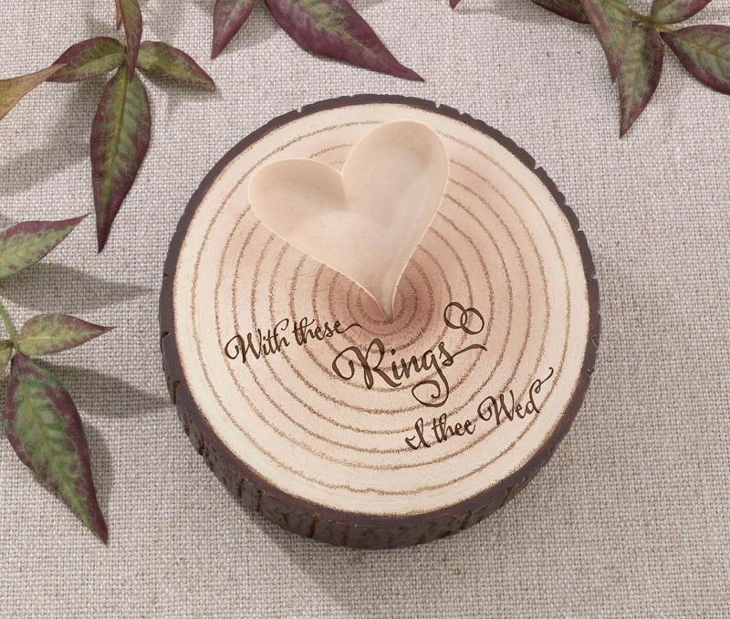 Wood Slice I Thee Wed Ring Holder