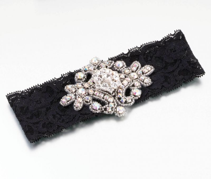Elegant Jeweled Black Lace Garter