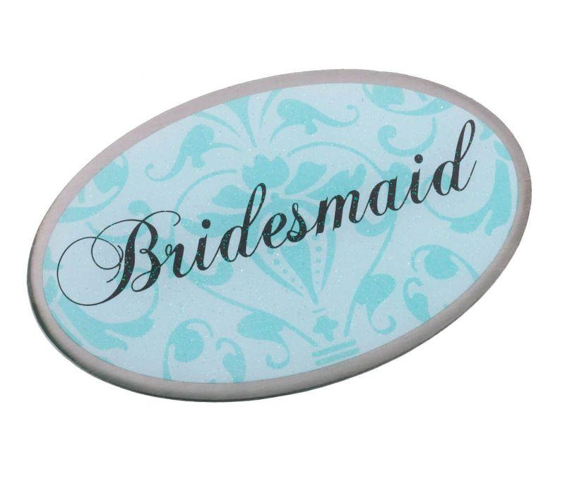 Aqua Bridesmaid Oval Pin