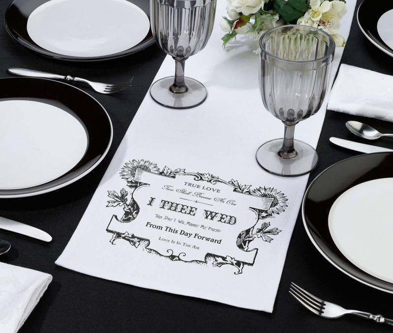 Black & White I Thee Wed Table Runner