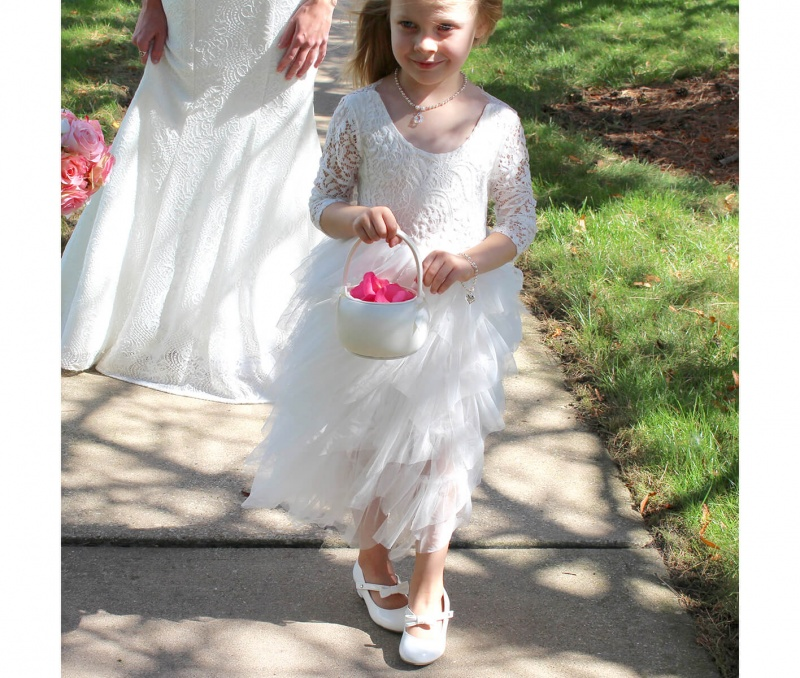 Off White Satin Flower Girl Basket