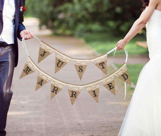 Just Married Rustic Burlap Banner
