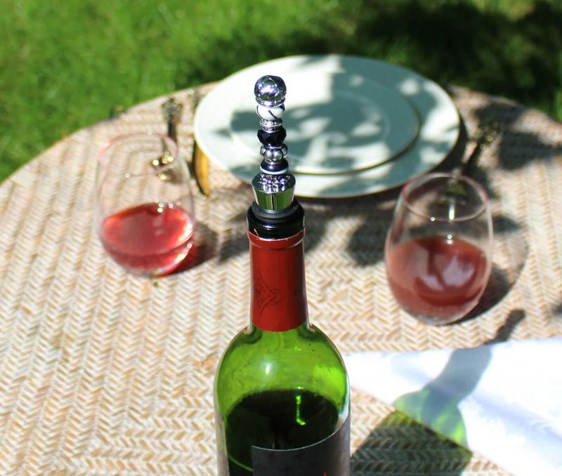 Black Beaded Wine Stopper
