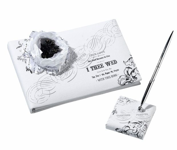Black & White I Thee Wed Guest Book & Pen Set