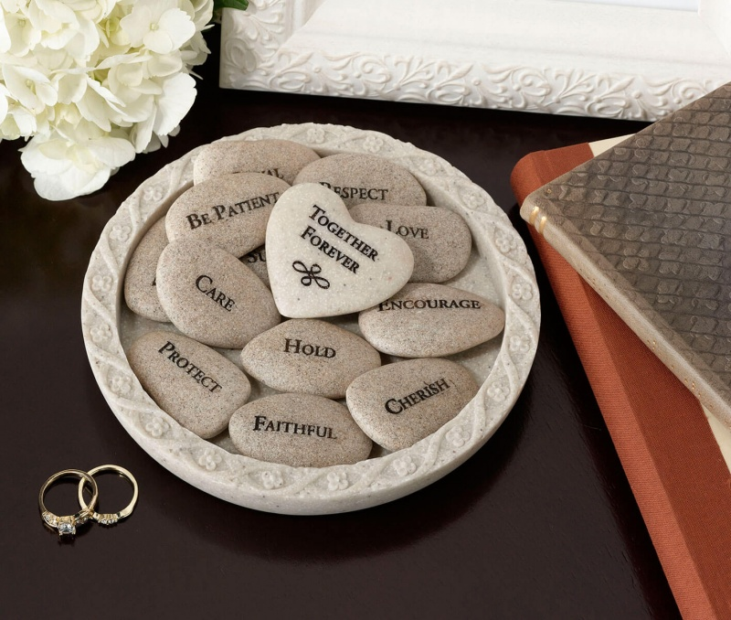 Set Of 13 Inspirational Vow Stones With Dish