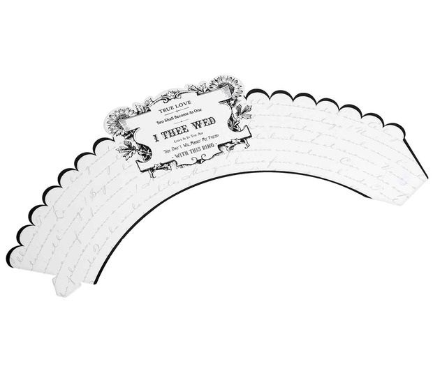 12 Black & White I Thee Wed Cupcake Wrappers