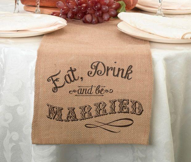 Eat, Drink & Be Married Rustic Burlap Table Runner