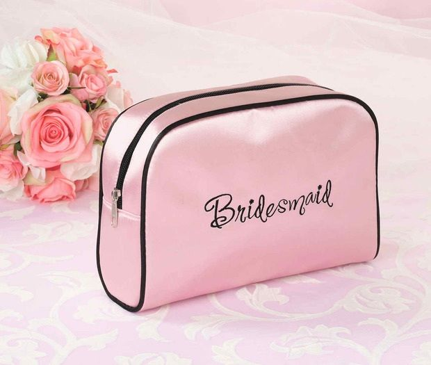 Pink Bridesmaid Travel Makeup Bag