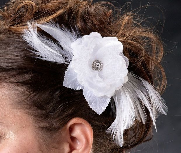 White Lace & Feather Hair Clip