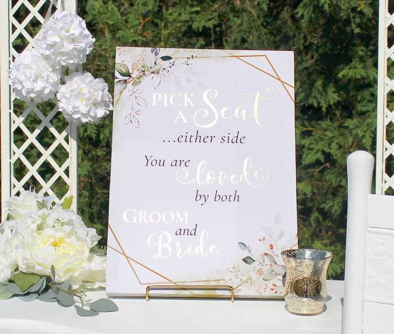 Botanical Theme Wedding Seating Canvas Sign
