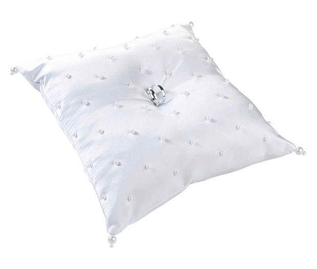 White Scattered Pearl Ring Bearer Pillow