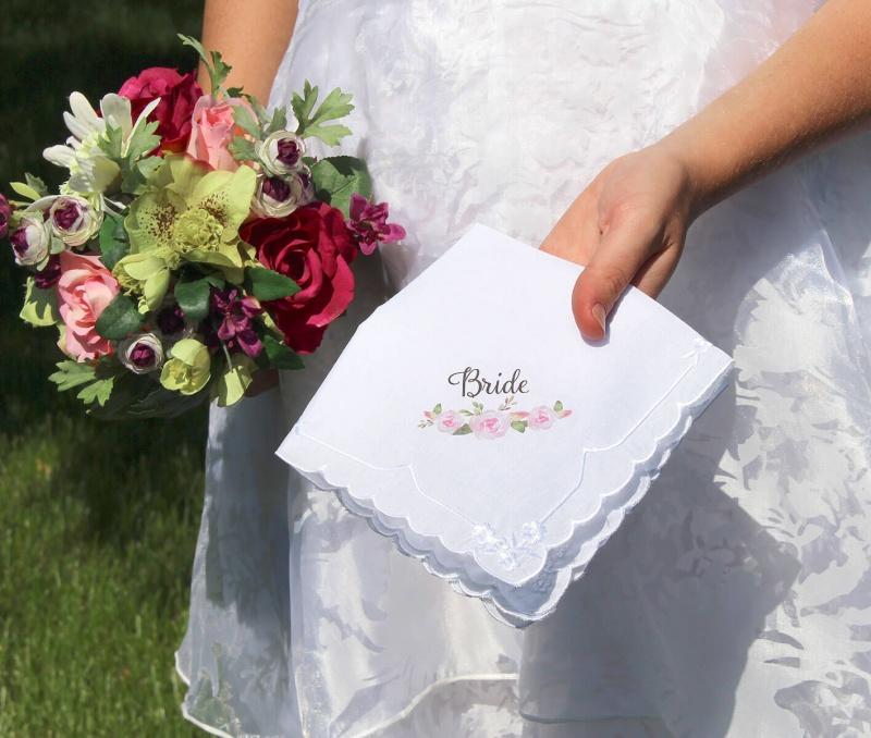 Watercolor Floral Bride Keepsake Hankie