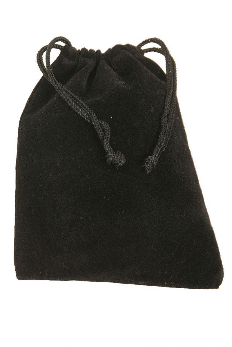 """Mid-East Velvet Drawstring Bag For Finger Cymbals 4""""X5.5"""" - Black"""