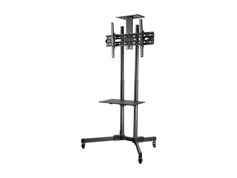 Monoprice Commercial Series Tilt Tv Wall Mount Bracket Stand Cart With Media Shelf For Led Tvs 37in To 70in, Max Weight 110 Lbs, Vesa Patterns Up To 600x400, Height Adjustable, Ul Certified