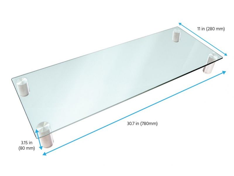 Workstream By Monoprice Large Multimedia Desktop Monitor Stand, Clear Glass