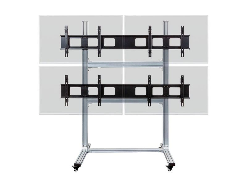 Monoprice Commercial Series 2x2 Video Wall Mount Bracket System Rolling Display Cart With Micro Adjustment Arms For Led Tvs 32in To 55in, Max Weight 100lbs, Vesa Patterns Up To 600x400