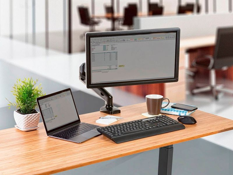 Workstream By Monoprice Single Monitor Adjustable Gas Spring Desk Mount, For Smaller Screens Up To 27in