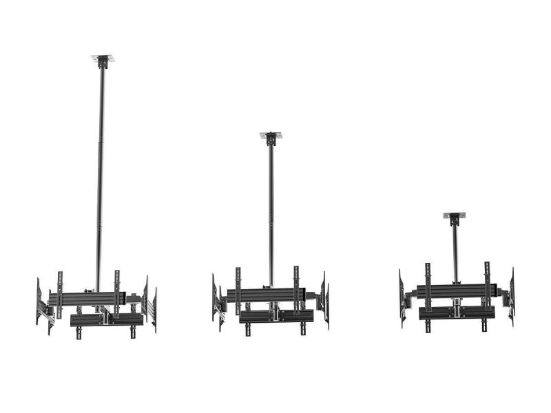 Monoprice Commercial Series Quad Sided Ceiling Tv Mount Bracket, For Led Displays 32in To 65in, Max Weight 66lbs Per Screen, Vesa Pattern Up To 600x400