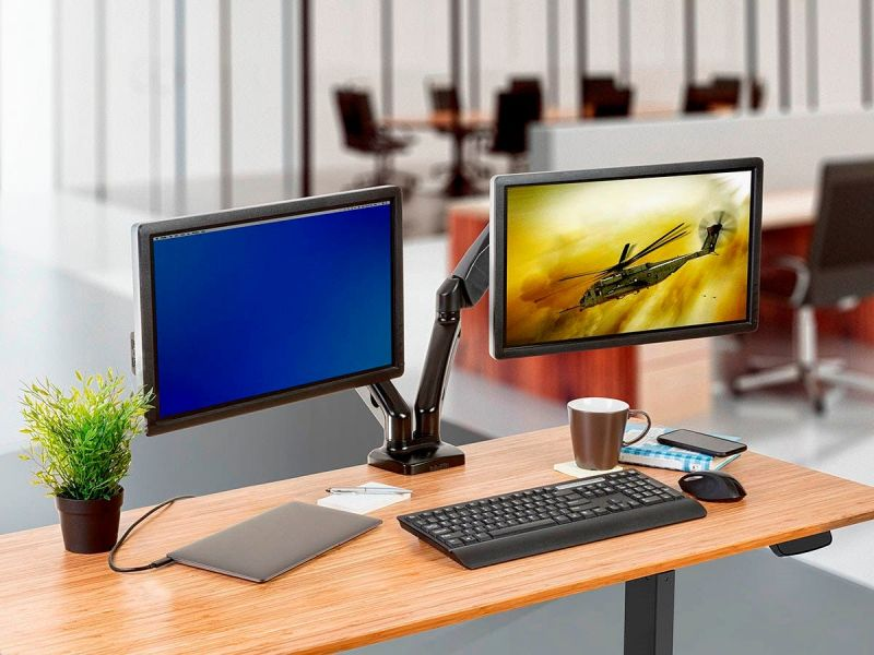 Workstream By Monoprice Dual Monitor Adjustable Gas Spring Desk Mount, For Smaller Screens Up To 27in