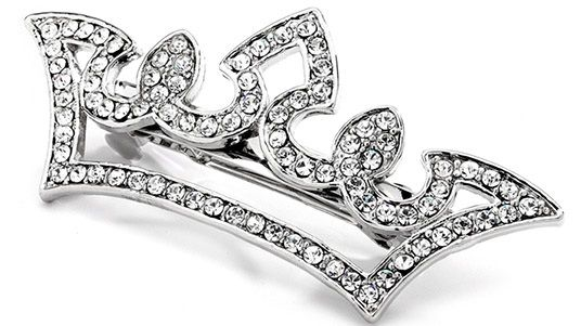 Pave Crystal Pageant Crown Barrette
