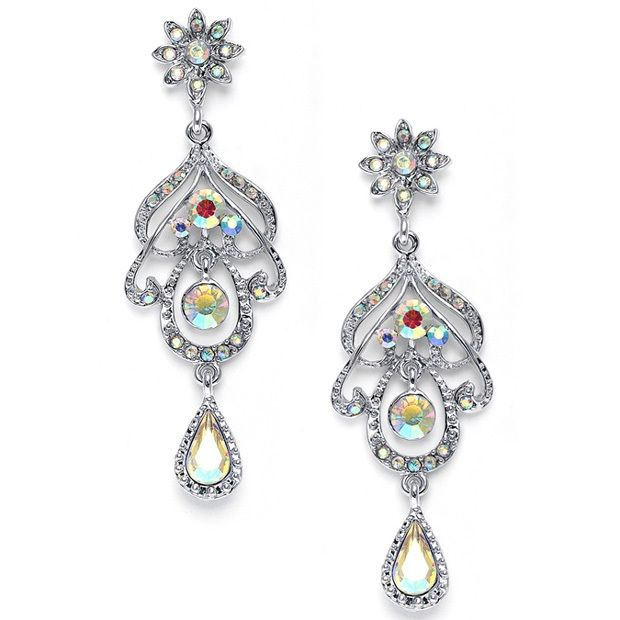 Abstract Iridescent Ab Chandelier Earrings