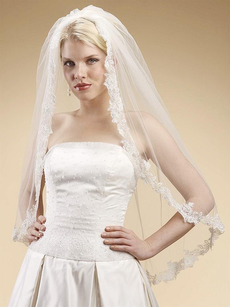 Alencon Lace Embroidered Mantilla Wedding Veil - White
