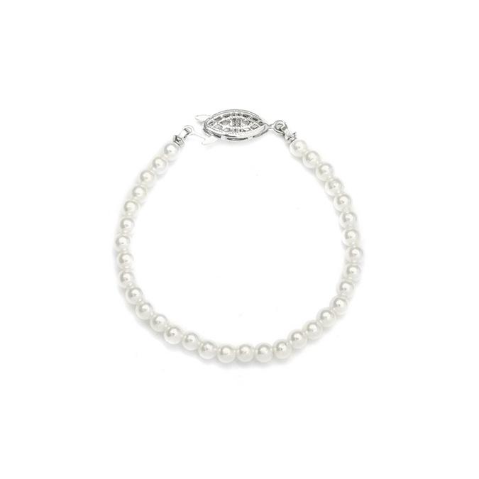 "Single Strand 4mm Pearl Wedding Bracelet - 7""/ivory/silver"