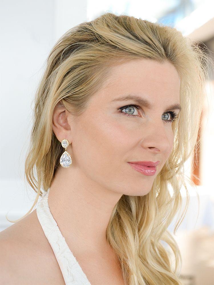 Best-Selling Gold Cz Pear-Shaped Drop Bridal Earrings - Pierced