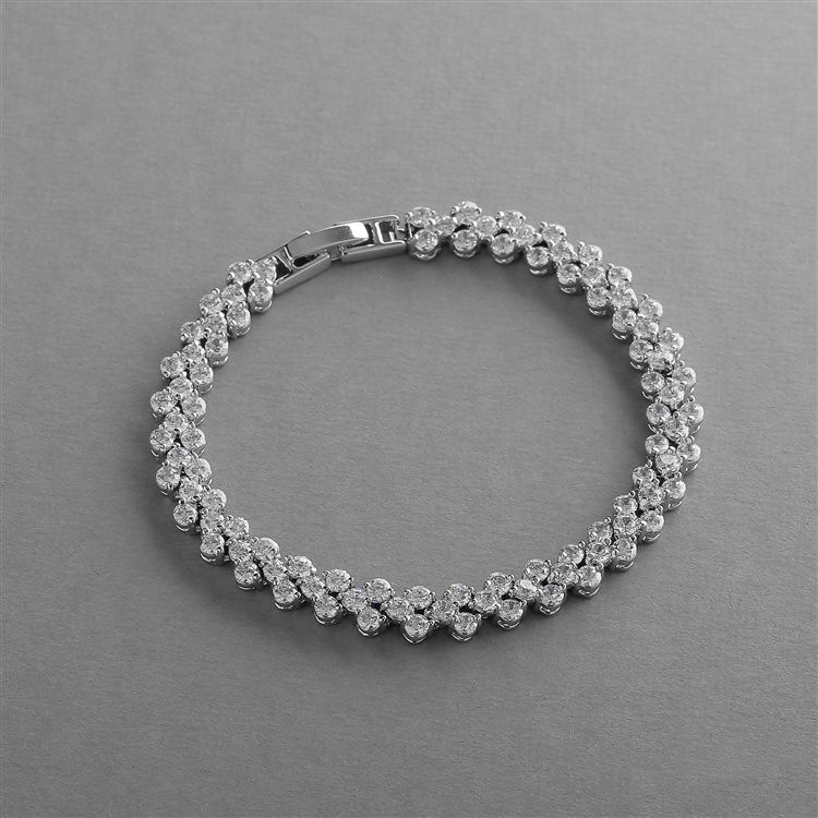 Elegant Silver Rhodium Cubic Zirconia Wedding Or Prom Tennis Bracelet