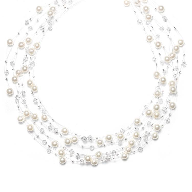 Lavish 6-row Pearl & Crystal Bridal Illusion Necklace