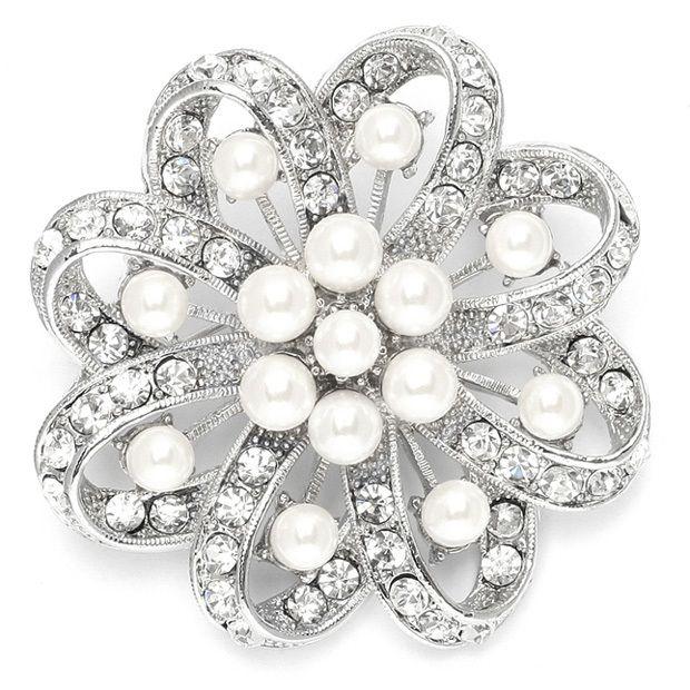 Regal Crystal & Pearl Swirl Vintage Wedding Brooch